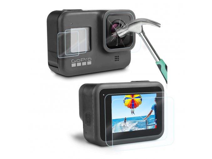 Ochranná sada skel pro GoPro Hero 8 Black 3ks tvrzené sklo 0