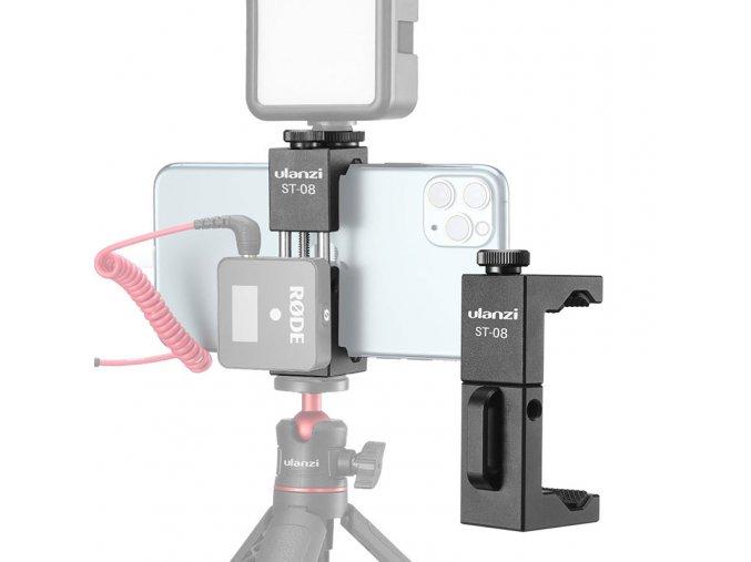 Držák telefonu na stativ, kovový se sáňkami a úchytem pro Rode Wireless GO 14