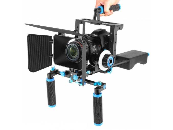 Kamerový DSLR RIG ramenní držák s modulem ostření na rameno 4