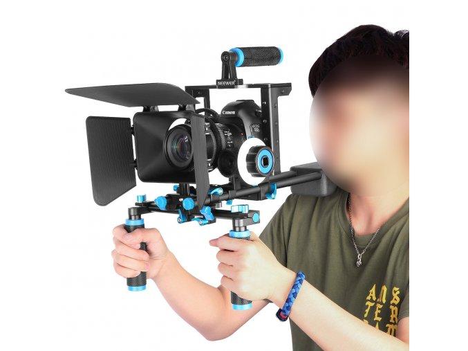 Kamerový DSLR RIG ramenní držák s modulem ostření na rameno