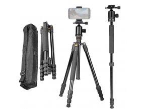 Stativ a monopod na mobil, foťák, kameru s panoramatickou fluidní hlavou 00