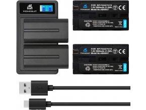 Sada 2 baterií NP F550 s externí nabíječkou do USB 1