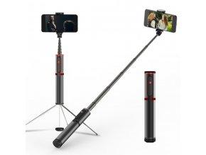 Multifunkční hliníková bluetooth selfie tyč s integrovaným stativem