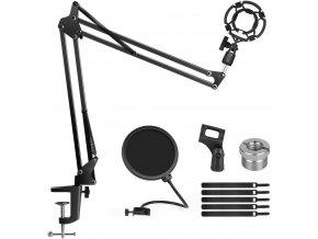Nastavitelné rameno pro mikrofon na stůl, kompletní set s držáky, pavoukem i pop filtrem 1
