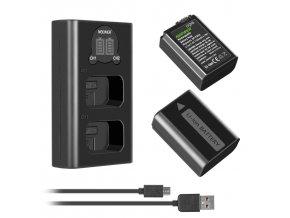 SET externí nabíječky a 2 baterií FW50 pro Sony čady A6000, A6300, A6400 atd. 1