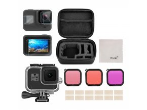 Podvodní set (housing pouzdro) a červenými filtry a sklíčky na GoPro Hero 8 Black 01