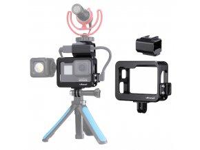 506 Rozšiřující klec RIG pro GoPro Hero 8 závity, 2x sáňky, uložiště pro mic adaptér 40