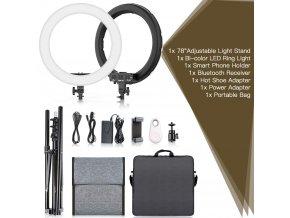 """LED Ring set 18"""" 480 LED - kruhové světlo ringlight s regulací teploty barvy pro kameru i mobil - pro youtube, líčení, livestream"""