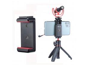 Držák mobilu na stativ se sáňkami pro mikrofon nebo světlo 1