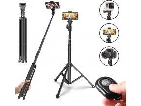 Cestovní stativ na kameru i mobil se selfie tyčí, ovladačem a držákem telefonu 3