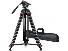 Profesionální videostativ s fluidní videohlavou, nosnost 15KG, výška 180cm obr.1