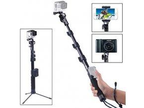 Pevná dlouhá ALU selfie tyč pro mobil, foťák i akční kameru se stativem 1