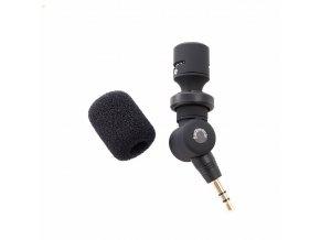 Malý mikrofon Saramonic SR XM1 s větrnou ochranou na kameru s TRS 3,5mm jack 1