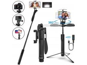 Multifunkční selfie tyč na telefon i foťák se stativem a steadycam stabilizací 1