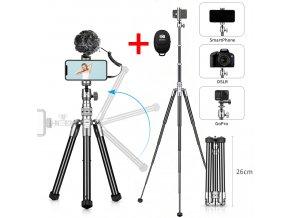 Hliníkový stativ na mobil ALL IN ONE s kulovou hlavou, sáňkami pro mikrofon, světlo 26 150cm Obr.0