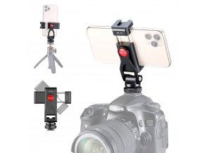 Otočný držák telefonu do sáňek i na stativ se sáňkami pro mikrofon nebo světlo kovový 20