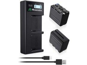 Sada dvou velkých baterií NP F970NP F960 8800mAh s USB nabíječkou 1