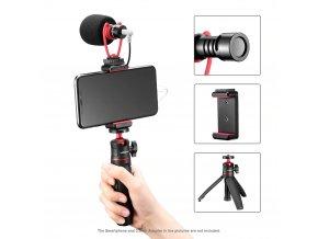Vlogovací set směrového mikrofonu, selfie tyče se stativem a držáku telefonu 2