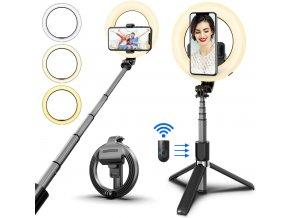 Selfie tyč se stativem, dálkovým ovladačem a kruhovým LED světlem 1