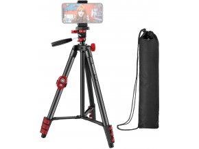 Videostativ na mobil a kamery 140cm s dálkovým ovladačem a držákem telefonu 1