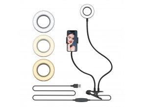 Ohebný stolní držák telefonu s kruhovým osvětlením do USB s regulací intenzity i teploty bilé 1