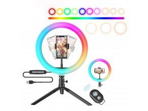 Kruhové RGB světlo se stativem na stůl 02