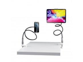 Kvalitní ohebný otočný držák tabletů, telefonů i iPadů do šířky až 220mm - Černo-stříbrný