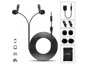 Kvalitní duální klopový mikrofon Sairen D Lav Black 6m 1