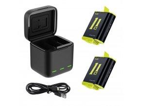 Sada 2 náhradních baterií s cestovní nabíječkou pro GoPro Hero 9 1