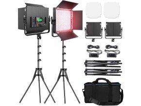 Sada dvou výkonných RGB LED video světel 2 x 45W se staitvy a matte boxy 1