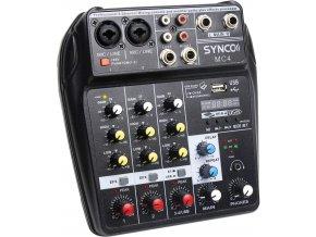Malý USB mixážní pult a zvuková karta Synco MC4 4kanálový, bluetooth, napájení z PC, Phantom 48V 1