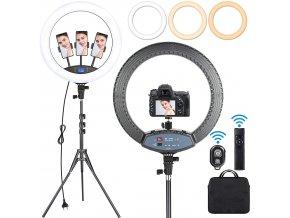 LED Ring set 19 60W kruhové světlo ringlight pro kameru i 3 mobily, display, regulace teploty, USB 1