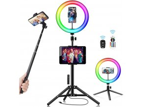 RGB 10 kruhové led světlo pro mobil na youtube, livestream líčení, efektry apod. 1