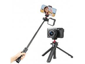 Pevná selfie tyč se stativem, sáňkami a kulovou hlavou pro foťáky, kamery i telefony Ulanzi MT 16 1