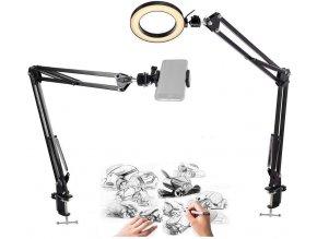 Set 2x nastavitelné rameno pro natáčení práce na stole mobilem s osvětlením 1