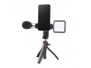 Otočný a náklonný držák mobilu na stativ se dvěma sáňkami pro mikrofon nebo světlo 8