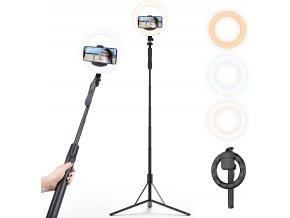 Stativ 160cm selfie tyč se steadicam, kruhovým LED světlem pro mobil + bluetooth ovladač 1