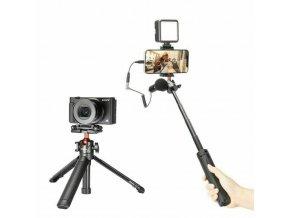 Stativ 160cm selfie tyč se steadicam, kruhovým LED světlem pro mobil + bluetooth ovladač 5