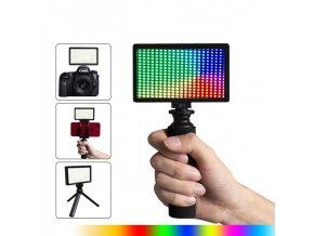 RGB dobíjecí světlo s držákem mobilu do ruky nebo na stativ 0