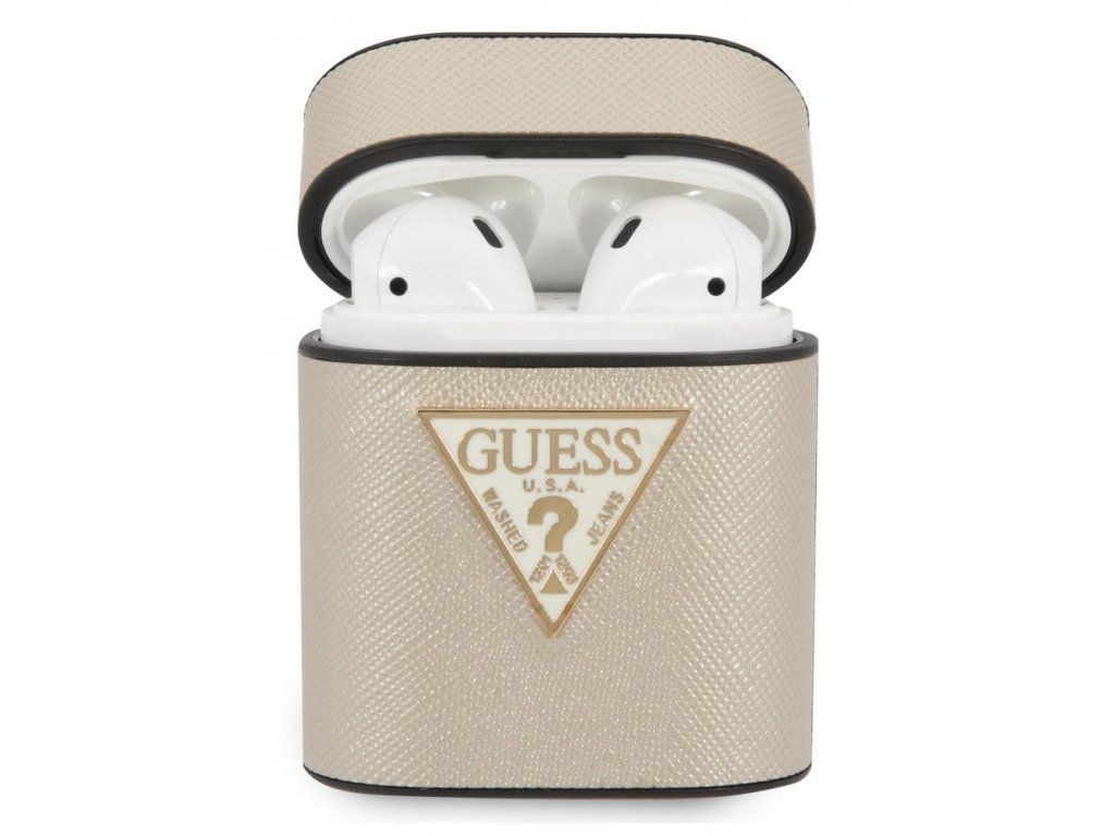 Guess Saffiano Hard Case Apple Airpods, Beige