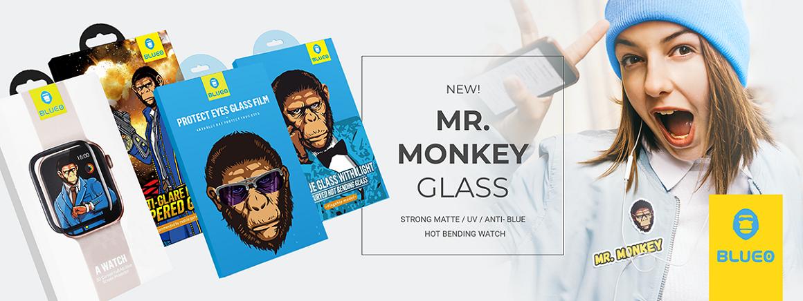 Tvrzené sklo 5D Mr. Monkey Glass