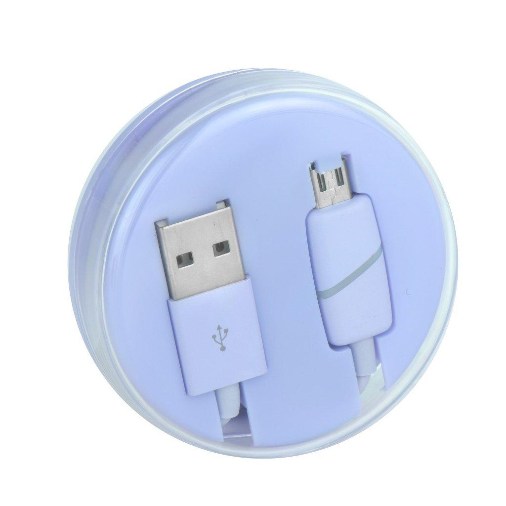 80227 3 kabel usb s micro usb konektorem fialovy