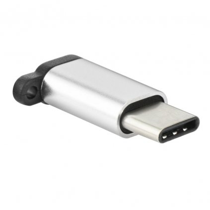 82129 1 micro usb nabijeci adapter usb typ c pa 30 s priveskem stribrny