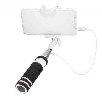 80541 mini selfie drzak kabel 3 5 mm bily cerny