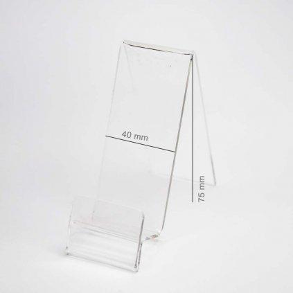 12193 1 plexi stojanek vertikalni pro telefon s mistem pro cenovku