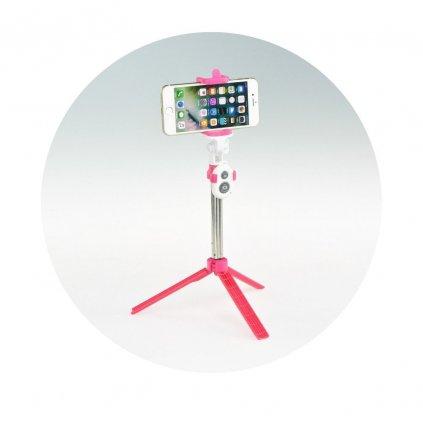 72636 3 selfie tyc drzak s dalkovym ovladanim stativ bluetooth ruzova
