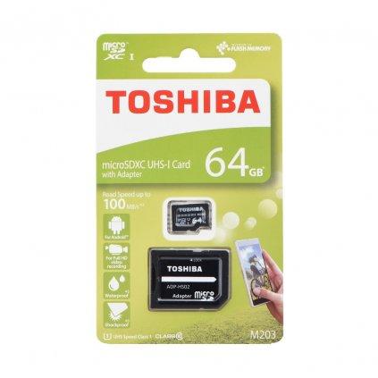 81479 1 toshiba pametova karta microsdhc 64gb m203 m203 class 10 uhs i u3 100mb s adapter sd
