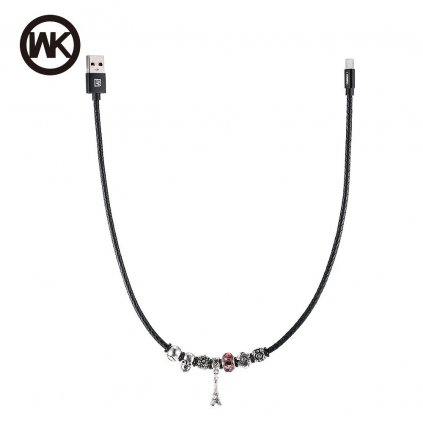 Kabel WK-Design USB - Apple Lightning s korálky a přívěskem věže - černý