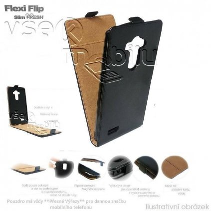 65654 pouzdro forcell slim flip case htc one mini m4 cerne
