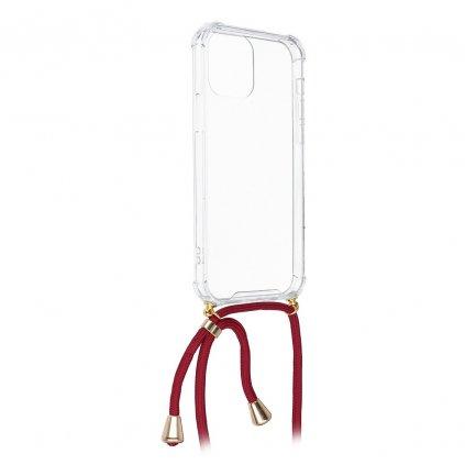 131354 3 pouzdro forcell cord apple iphone 5 5s se transparentni cervena snurka